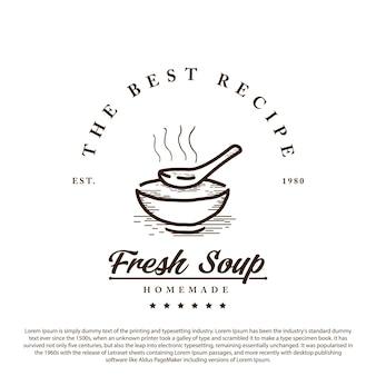 Vintage retro-suppe logo schüssel mit suppe und löffel minimalistische umriss-vektor-illustration