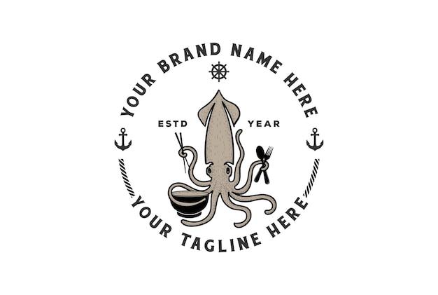 Vintage retro tintenfisch tintenfisch mit schüssel stäbchen löffel und gabel für meeresfrüchte restaurant logo design vector