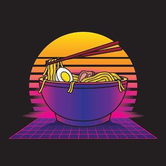 Vintage retrowave ramen food illustration style