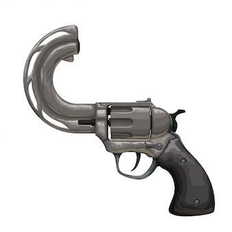 Vintage revolver mit gebogenem lauf