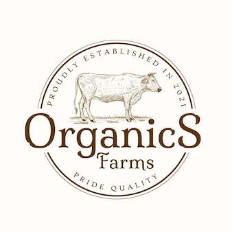 Vintage rindfleisch bioladen emblem logo vorlage premium-vektor