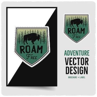 Vintage roam free abzeichen und broschürenillustrationsdesign. reiseemblem mit text. ungewöhnlicher patch im hipster-abenteuer-stil. lager vektor.