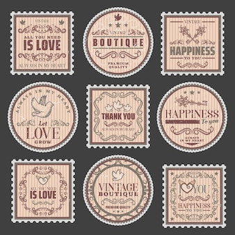 Vintage romantische farbige briefmarken mit verliebten inschriften elegante rahmen hübsche vignetten
