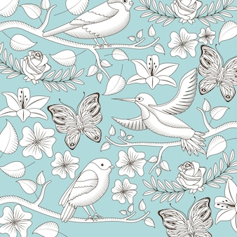 Vintage romantische muster vögel blumen schmetterlinge symbol