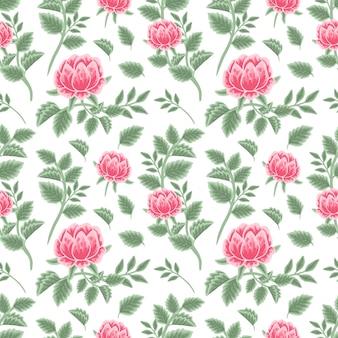 Vintage rosa pfingstrose nahtlose blumenmuster mit blütenknospen und blattzweigen
