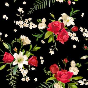 Vintage rose und lilie blüht hintergrund. frühling und sommer nahtlose muster in