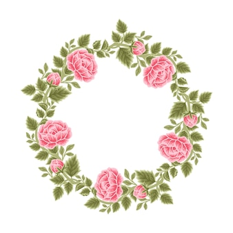 Vintage rosenblütenrahmen und kranzarrangements