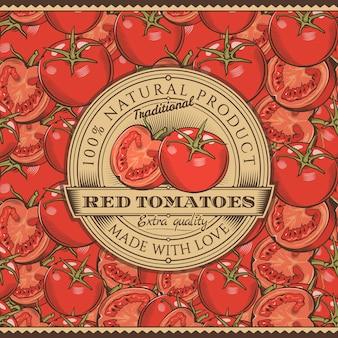 Vintage rote tomaten-etikett auf nahtlosem muster