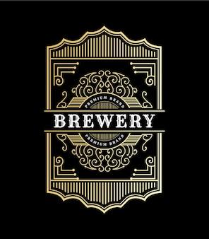 Vintage royal luxury frames logo-etikett für bier whisky alkohol und getränkeflaschenetiketten Premium Vektoren