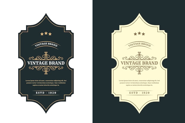 Vintage royal luxusrahmen logo label für bier whisky alkohol und getränke flaschenetiketten