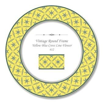 Vintage runde retro-rahmen der gelben blauen kreuz-linien-blume