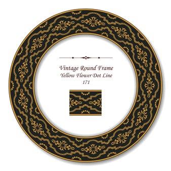 Vintage runde retro-rahmen der gelben blumen-punkt-linie