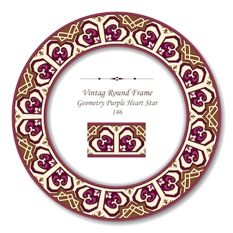 Vintage runde retro-rahmen der geometrie lila herz stern