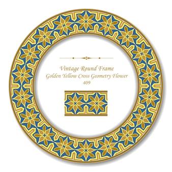 Vintage runde retro-rahmen der goldenen gelben kreuz-geometrie-blume