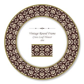 Vintage runde retro-rahmen der kreuzblatt-blume