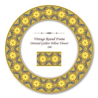Vintage runde retro-rahmen der orientalischen goldenen gelben blume