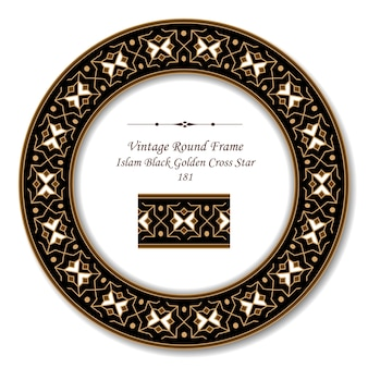 Vintage runde retro-rahmen des islam black golden cross star