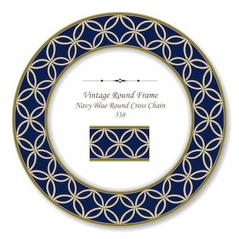 Vintage runde retro-rahmen marineblau runde kreuzkette