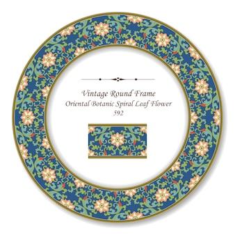 Vintage runde retro-rahmen orientalische botanische spiralblatt-blume