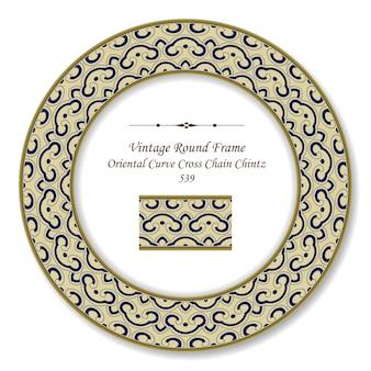 Vintage runde retro-rahmen orientalische kurve kreuzkette chintz