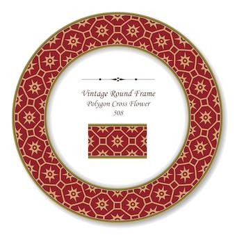 Vintage runde retro-rahmen orientalische rote polygon-kreuzblume