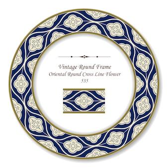 Vintage runde retro-rahmen orientalische runde kreuzlinie blume