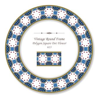 Vintage runde retro-rahmen polygon quadratische runde punktkreuzblume, antiker stil