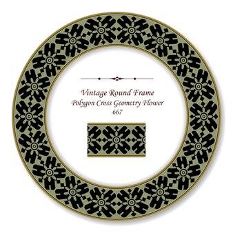 Vintage runde retro rahmen rahmen polygon kreuz geometrie blume, antiken stil