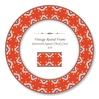 Vintage runde retro-rahmen sägezahn quadratischen karo kreuz punkt, antiken stil