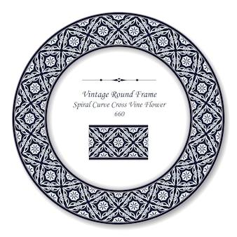 Vintage runde retro-rahmen spiralkurve kreuzrebeblume, antiker stil