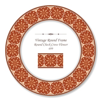 Vintage runde retro-rahmen überprüfen kreuzblume, antiker stil