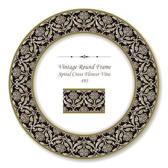 Vintage runde retro-rahmen von spiral cross flower vine