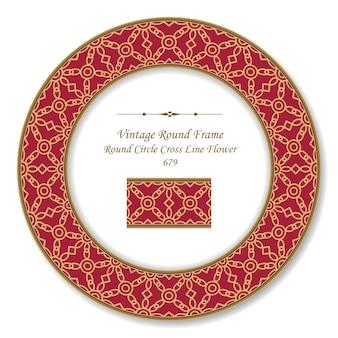 Vintage runde retro-rahmenkreis-kreuzlinienblume, antiker stil