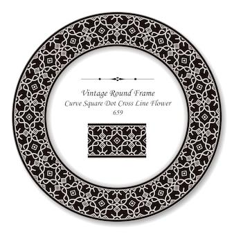 Vintage runde retro-rahmenkurve quadratische punktkreuzlinienblume, antiker stil