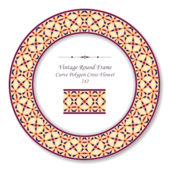 Vintage runde retro-rahmenkurven-polygonkreuzblume, antiker stil