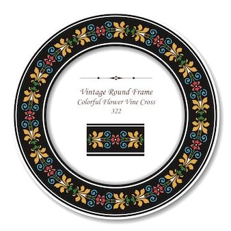 Vintage runder retro-rahmen des bunten blumen-weinreben-kreuzes