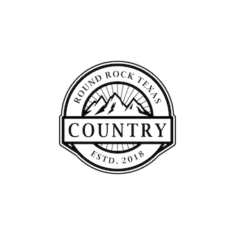 Vintage rundes rock mountain-stempel-logo-design