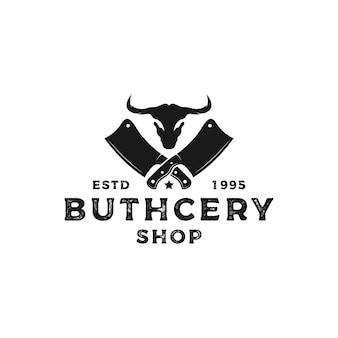 Vintage rustikale metzgerei logo-design mit büffelkopf
