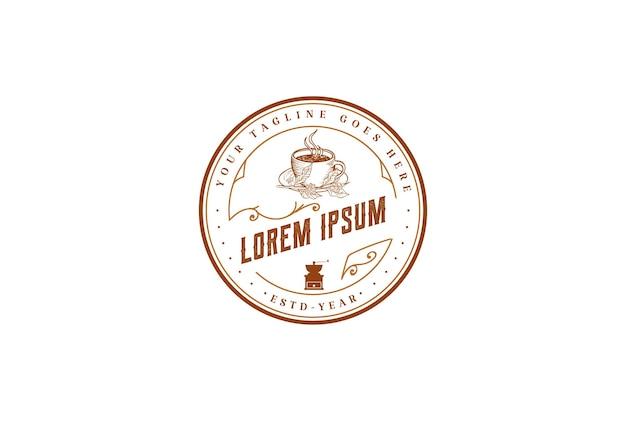 Vintage rustikaler hipster altes kreisförmiges kaffeetasse-abzeichen-emblem für café-bistro-restaurant-label-logo-design-vektor