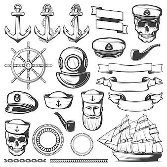 Vintage sailor naval set Kostenlosen Vektoren