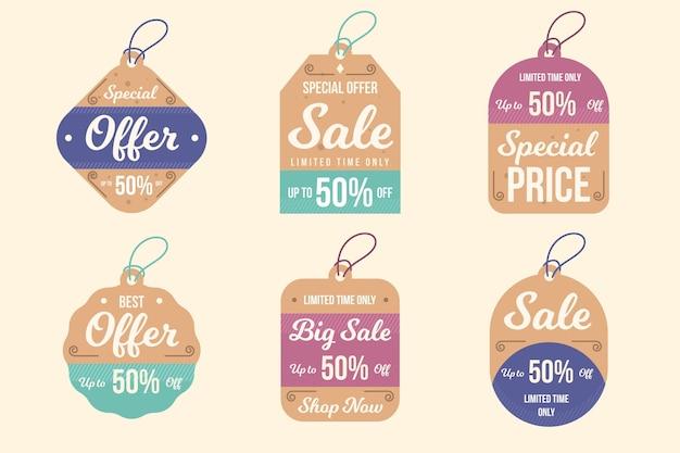Vintage sale tags sammlung