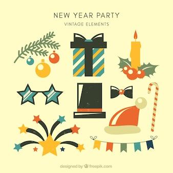 Vintage sammlung von neujahr party-elemente