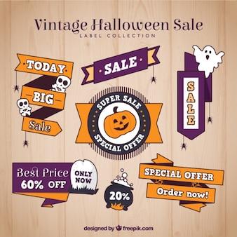 Vintage satz von halloween-aufkleber