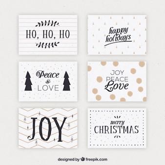 Vintage satz von weihnachtskarten
