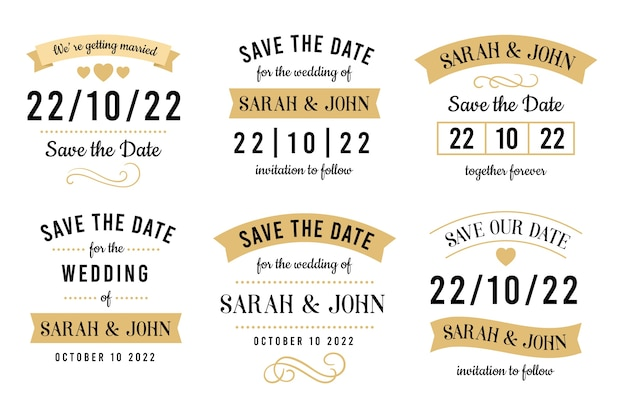 Vintage save the date schriftzug sammlung