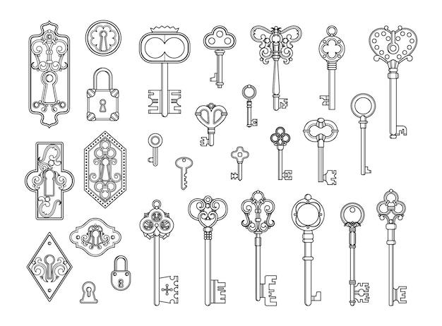 Vintage schlösser und schlüssel. skizzenschlüsselloch, viktorianisches vorhängeschloss.