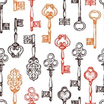 Vintage schlüssel nahtlose muster