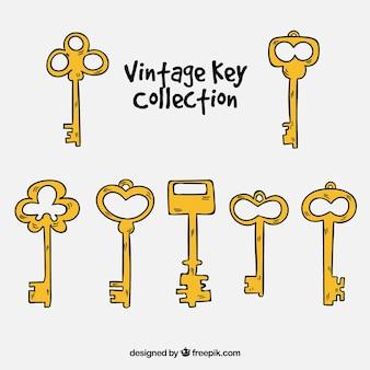 Vintage schlüssel-sammlung