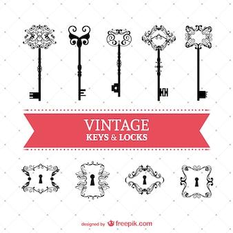 Vintage schlüssel und schlösser vektor-set