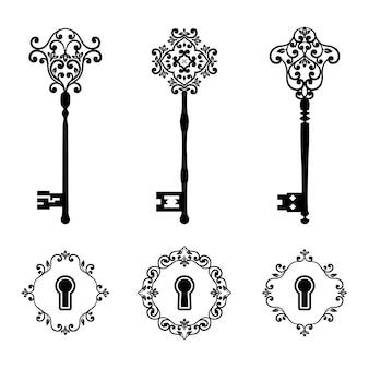 Vintage schlüssel und schlüssellöcher eingestellt